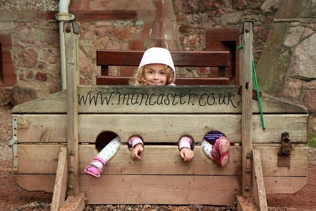The stocks at Muncaster Castle